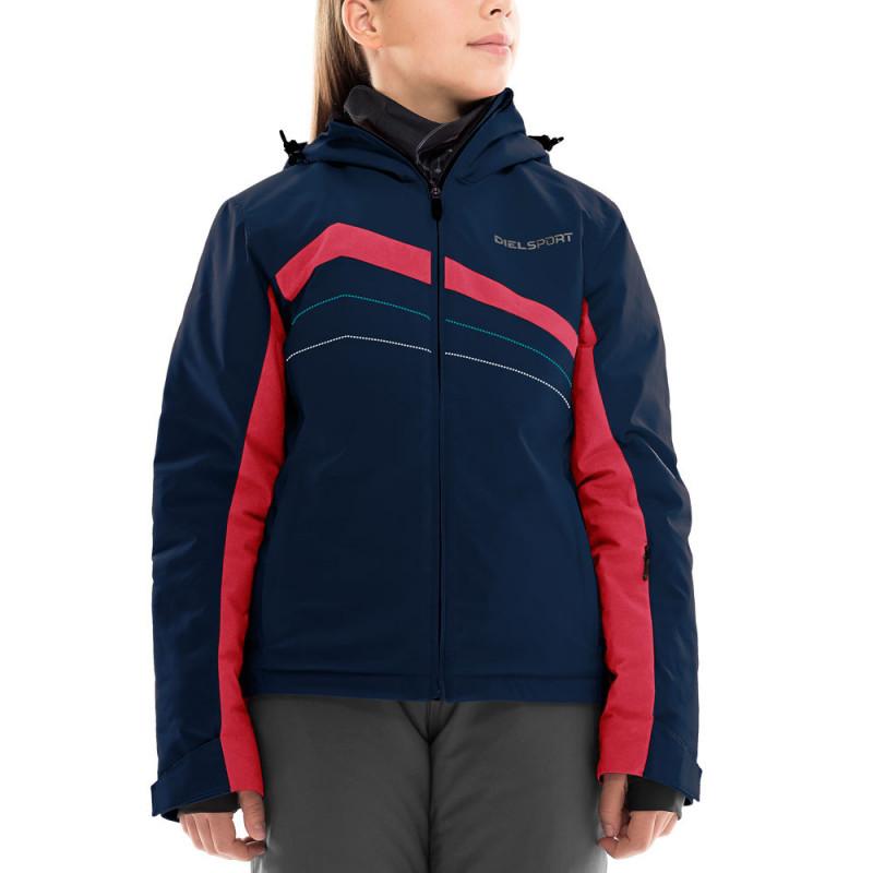 Ски яке с червени кантове за момиче тъмно синьо  10902