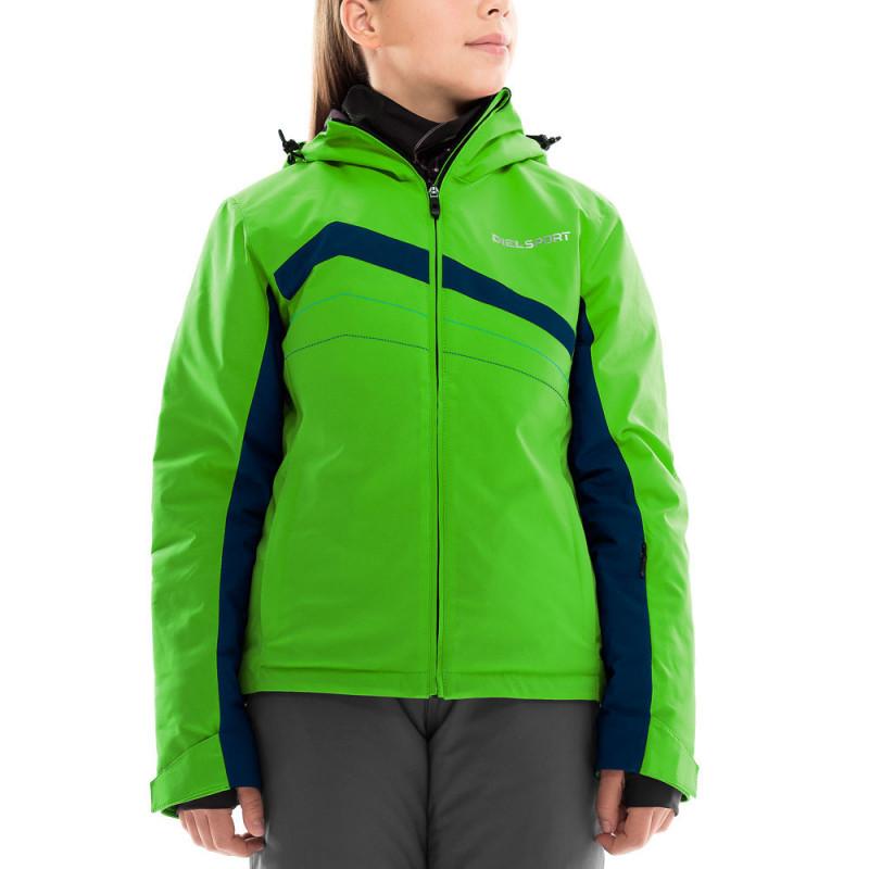 Ски яке със сини кантове за момиче зелено  10904