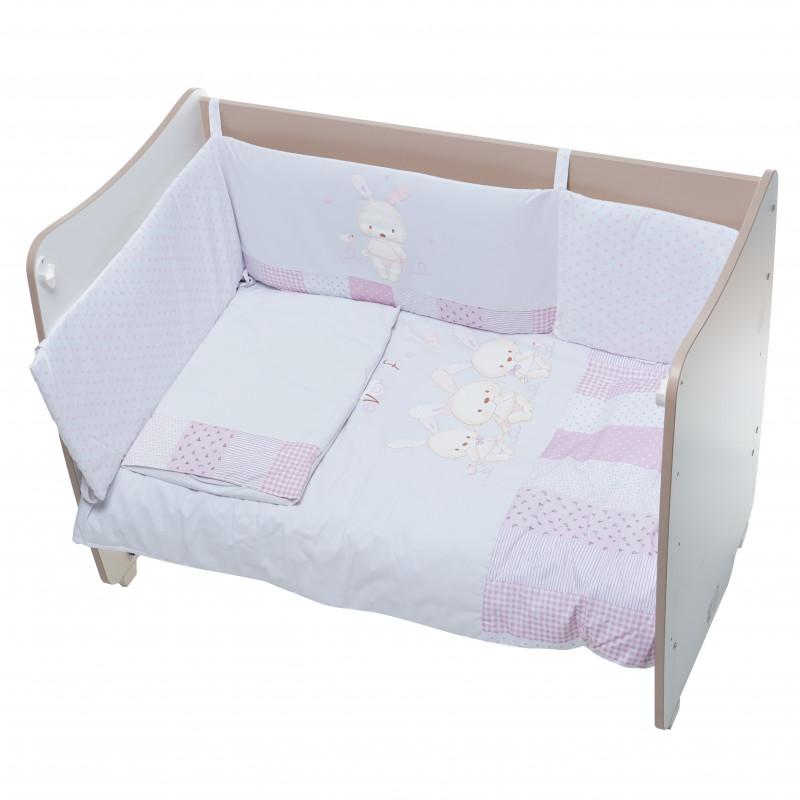 Спален комплект 3 части - 100% памук със зайчета, розов, 70х140 см.  109081