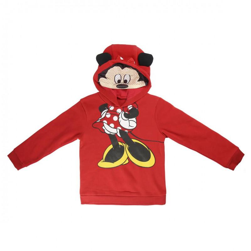 Суитчър Minnie Mouse с качулка за момиче червен  1092