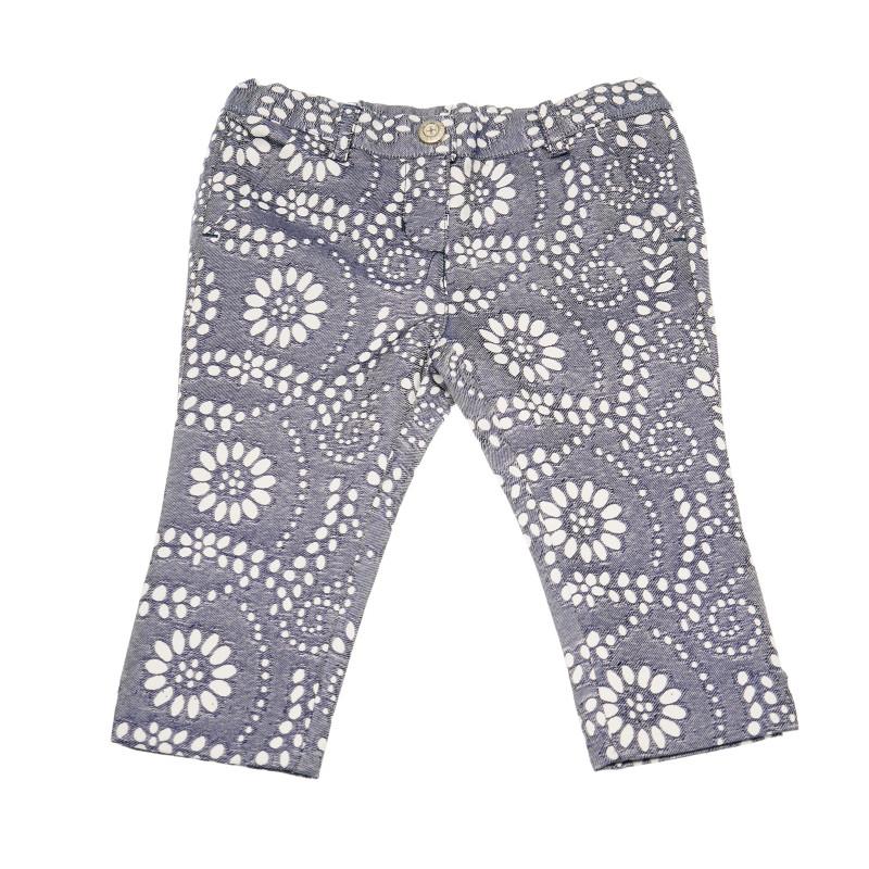 Панталон с флорален принт за момиче сив  110841