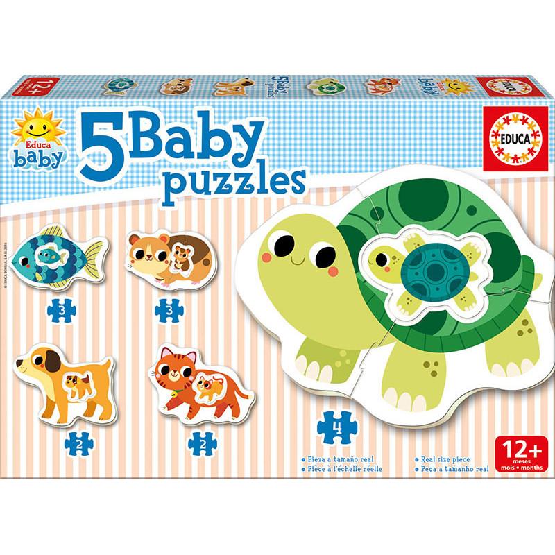Детски пъзел 5 в 1 животни мама и бебе  11087