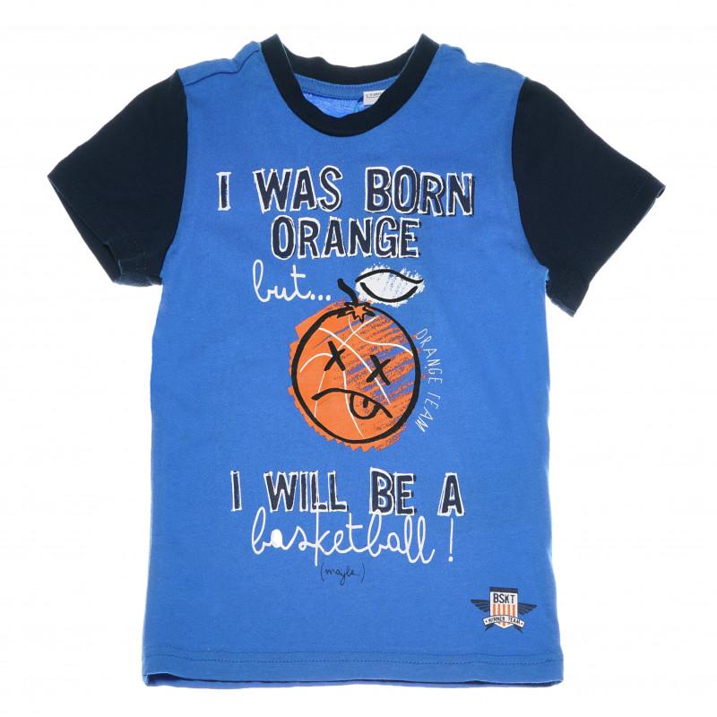 Памучна тениска с принт за момче синя  111062