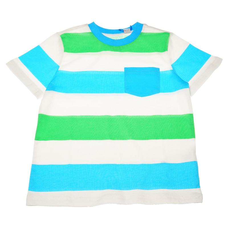 Памучна тениска с джоб за момче райе  111076