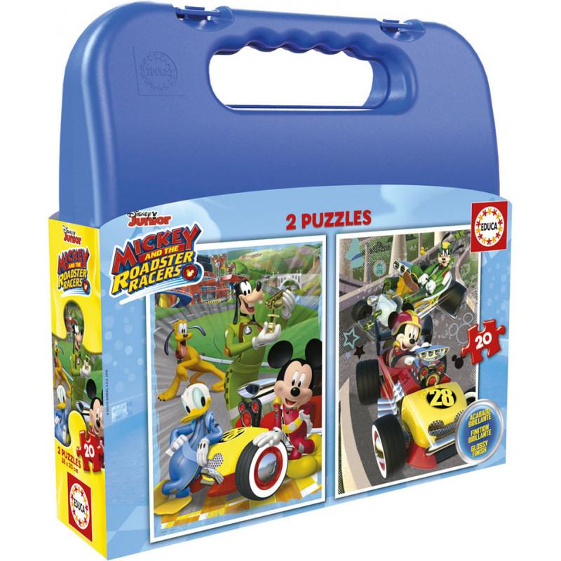 Детски пъзел 2 в 1 Мики и приятели състезатели в куфарче  11202