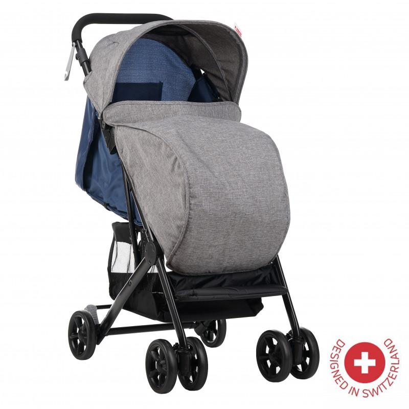 Бебешка количка Jasmin - компактна, лесно сгъваема с покривало за крачета, синя  113568