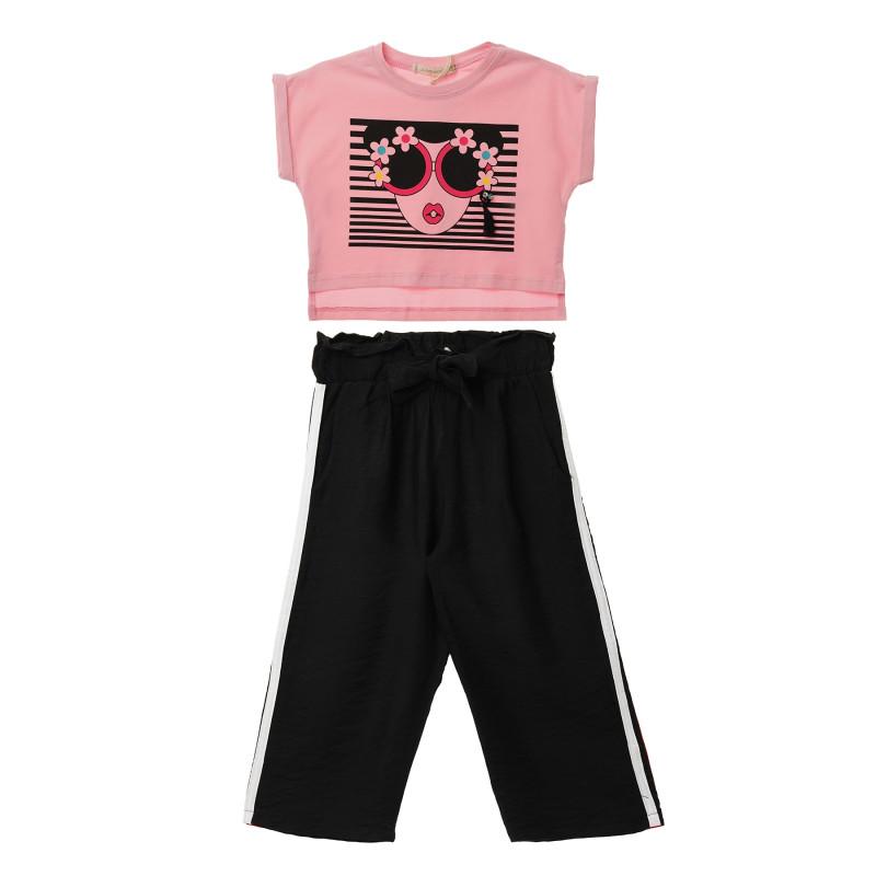 Комплект от две части в розово и черно за момиче  114489