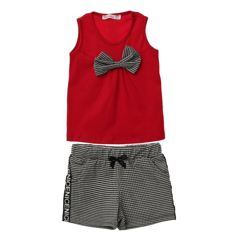 Комплект от потник и къс панталон в червено и черно за момиче  114496
