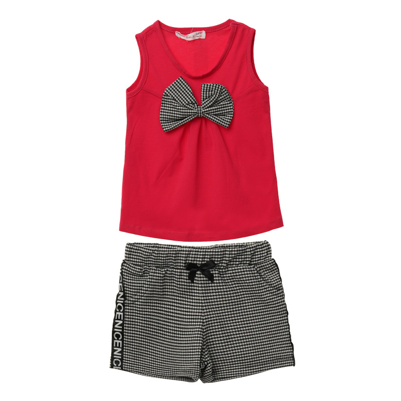 Комплект от потник и къс панталон в розово и черно за момиче  114504