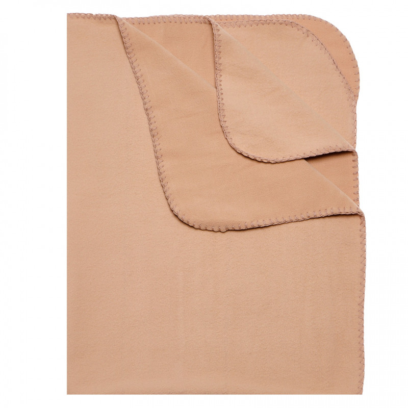 Поларено одеяло с малка цветна бродерия, кафяво  115035