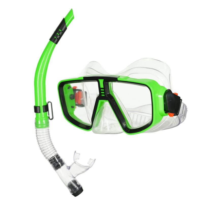 Комплект за гмуркане с маска и шнорхел - зелен  116109