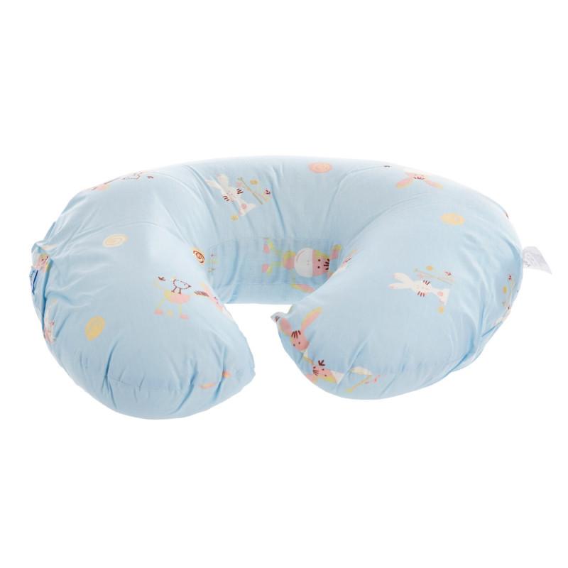 Памучна възглавница за кърмене 55 х 45 х 18 см,  цвят: Син  117495