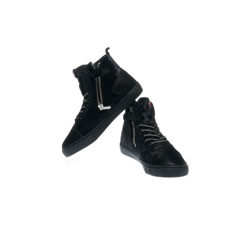Спортни обувки за момиче в черен цвят с цип и връзки  12383