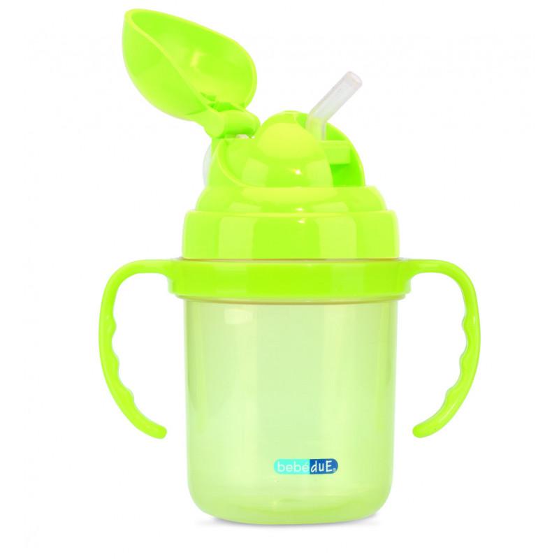 Чаша със сламка, зелена  1257