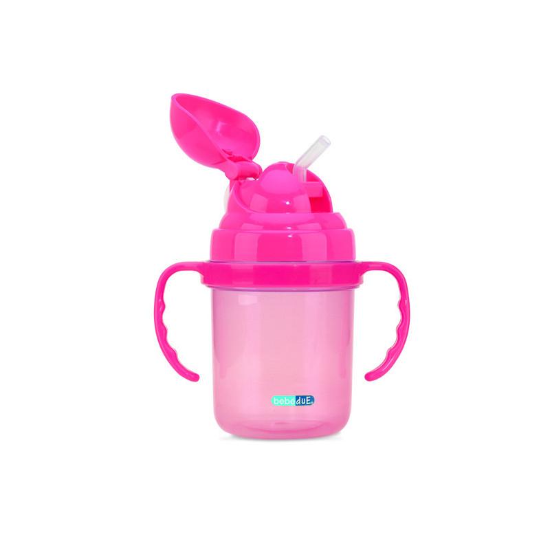Чаша със сламка, розова, Пластмаса 190 ml,  1259