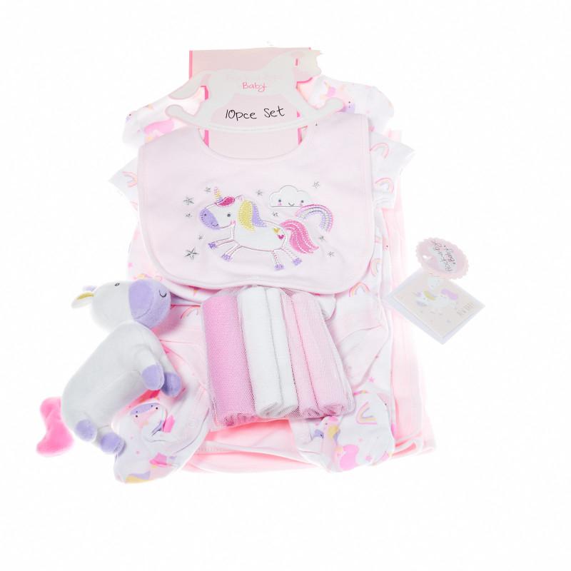 Комплект за бебе момиче от 10 части с еднорог  13247