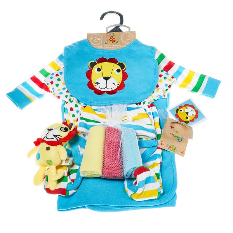 Комплект за бебе момче от 10 части с лъвче LILY AND JACK 13259