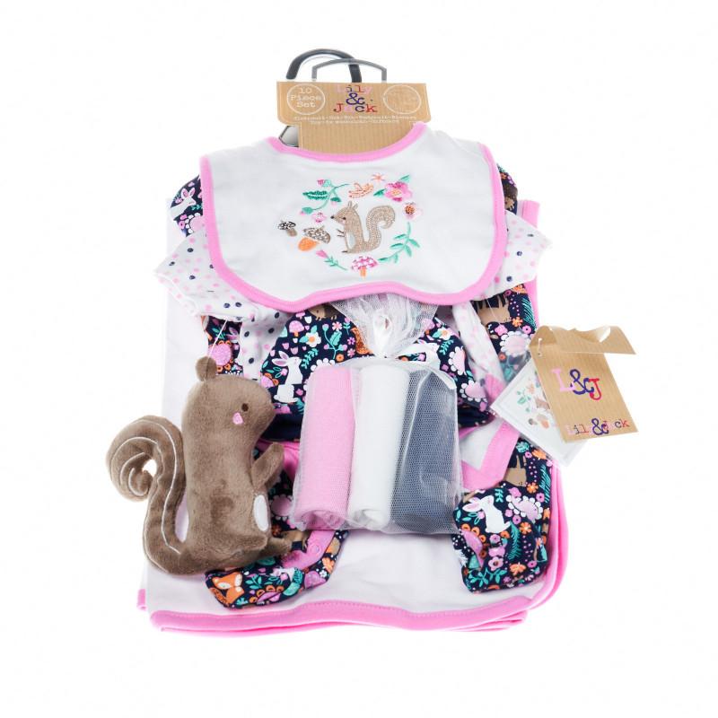 Комплект за бебе момиче от 10 части с катеричка  13307