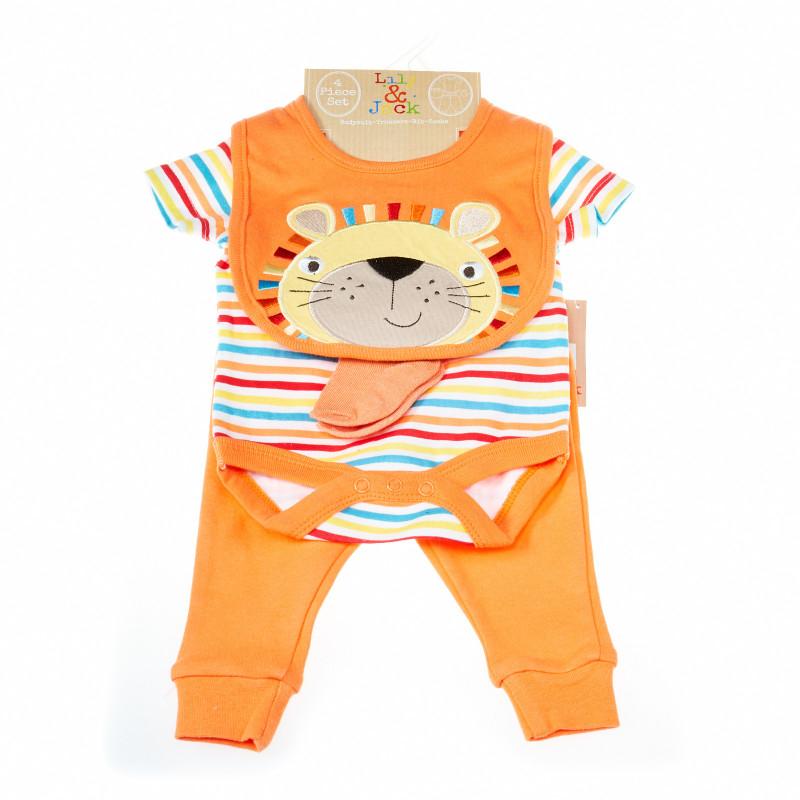 Комплект за бебе момче от 4 части с лъвче  13362