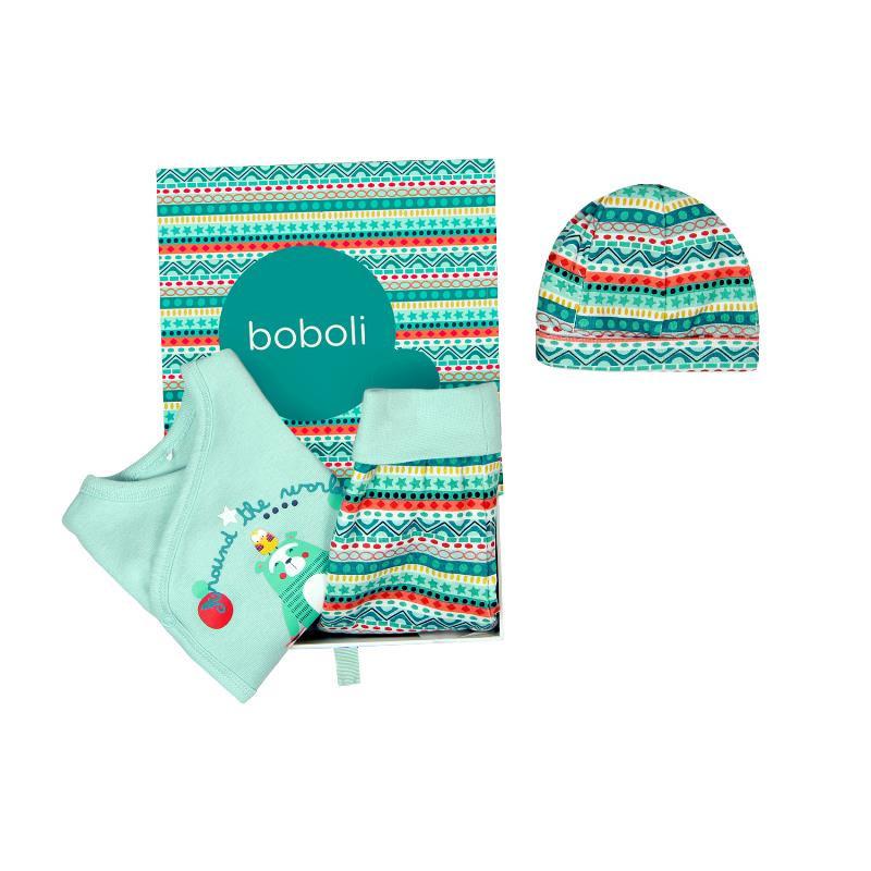 Комплект за бебе от 3 части - унисекс, зелен  134