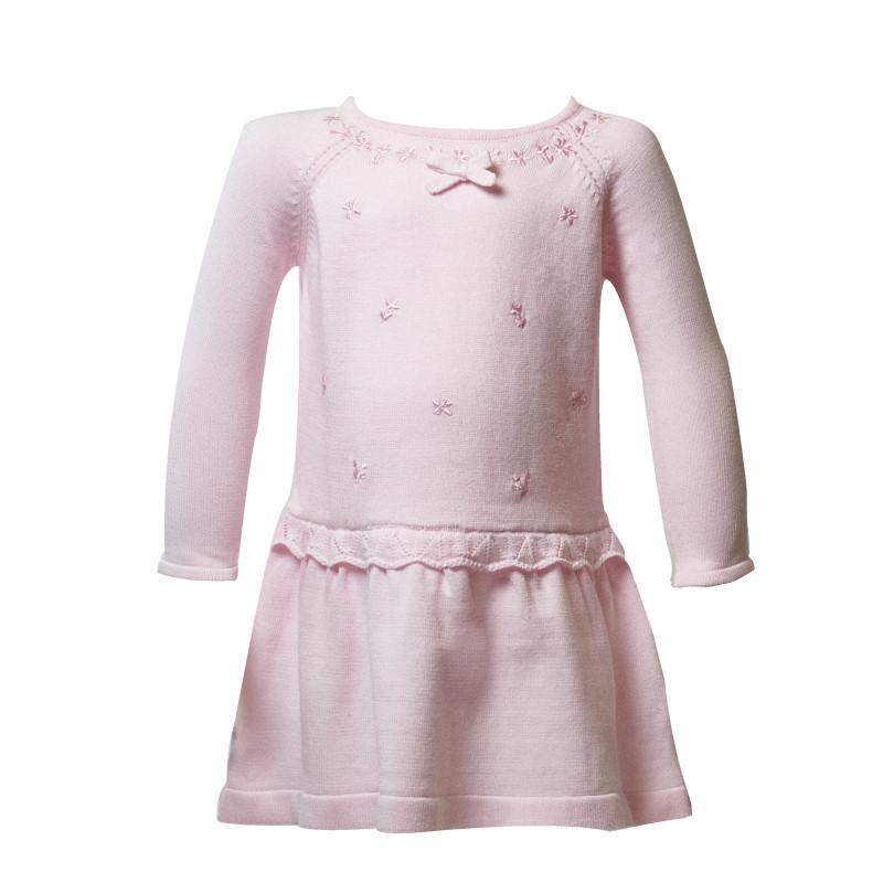 Плетена рокля с дълъг ръкав с нежна бродерия  13443
