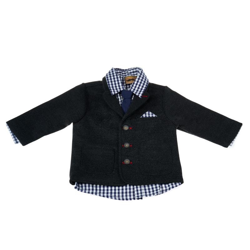 Комплект за момче с риза, сако, вратовръзка и панталон  13497
