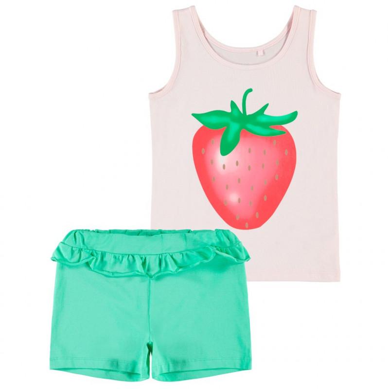 Комплект от две части с принт на ягода за момиче в розово и зелено  150274