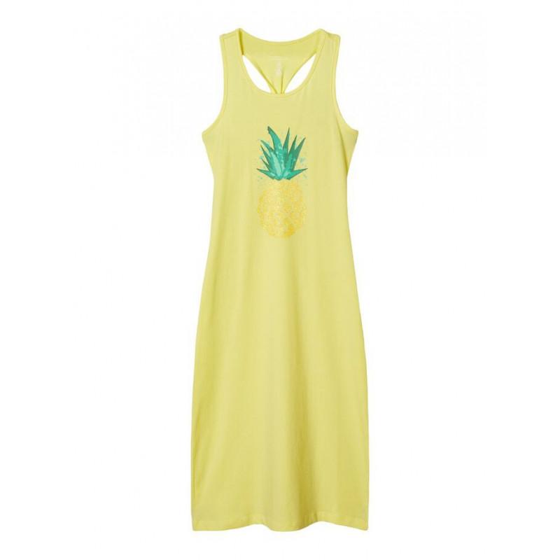 Дълга рокля от органичен памук за момиче жълта  150284