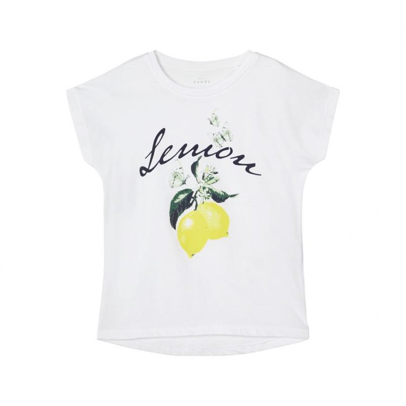 Тениска от органичен памук с графичен принт за момиче бяла  150349