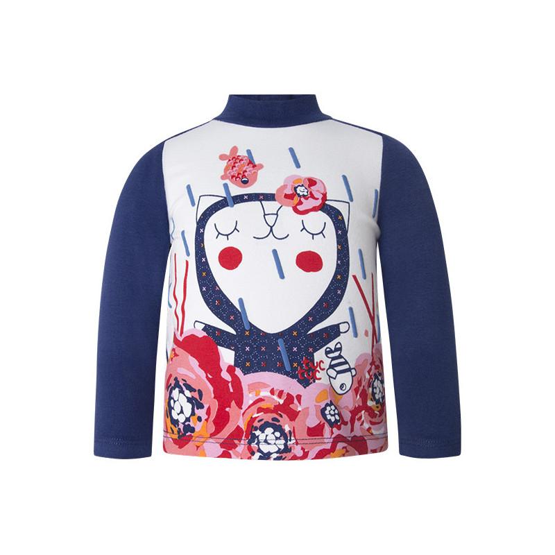 Блуза поло с дълъг ръкав и весела декорация за момиче  1632