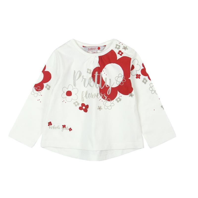Памучна блуза на флорален принт с дълъг ръкав за момиче  169
