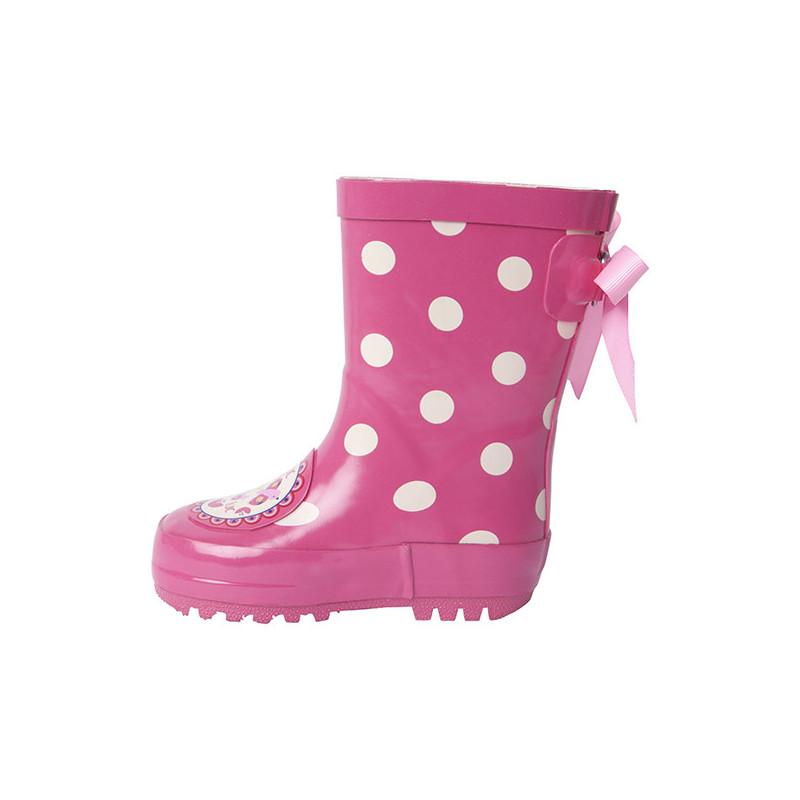 Розови гумени ботуши за момиче с бели точки и релефна подметка  1706