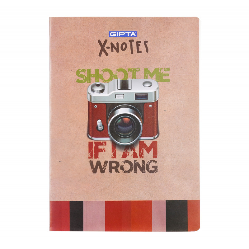 Тетрадка X-notes - shoot me, А 4, 60 листа, широки редове, многоцветен  175184