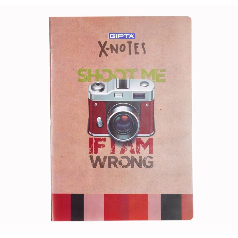 Тетрадка X-notes - shoot me, А 4, 80 листа, широки редове, многоцветен  175188