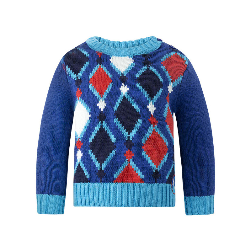 Пуловер за момче с вплетена декорация  1755