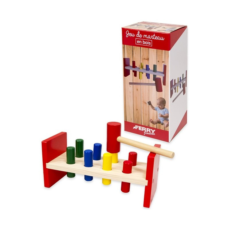 Дървена игра с чукче, 23 см  178639