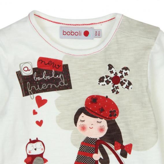 Памучна рокля с дълъг ръкав за бебе Boboli 182 3