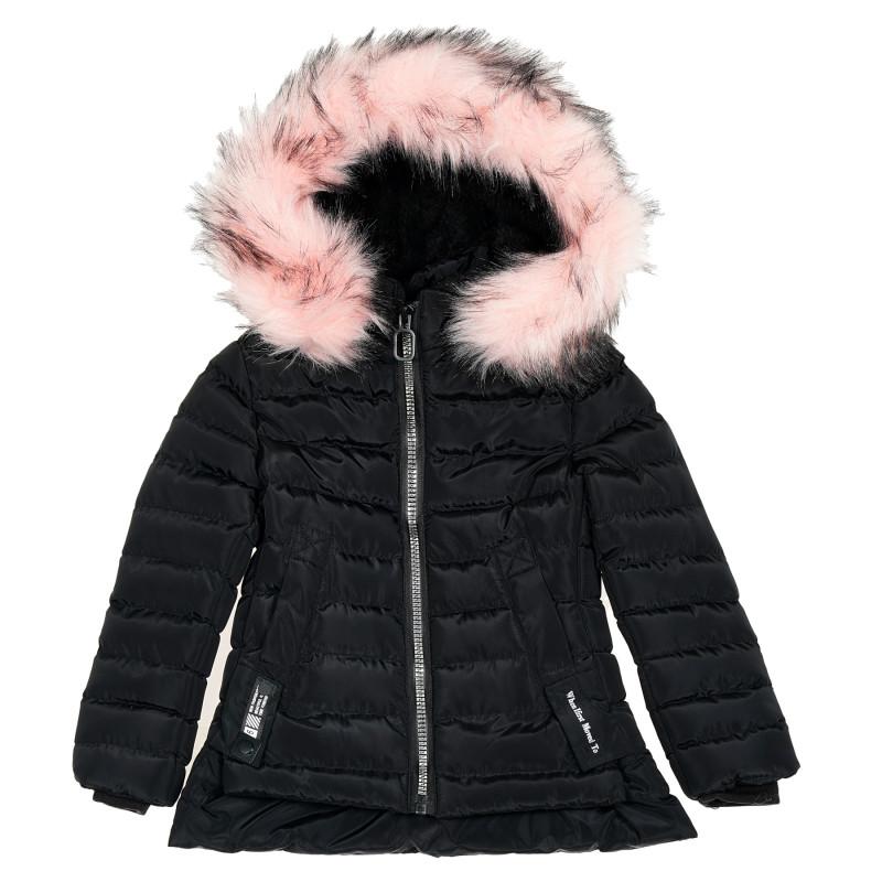 Ватирано зимно яке с розов пух за момиче, черно  188170