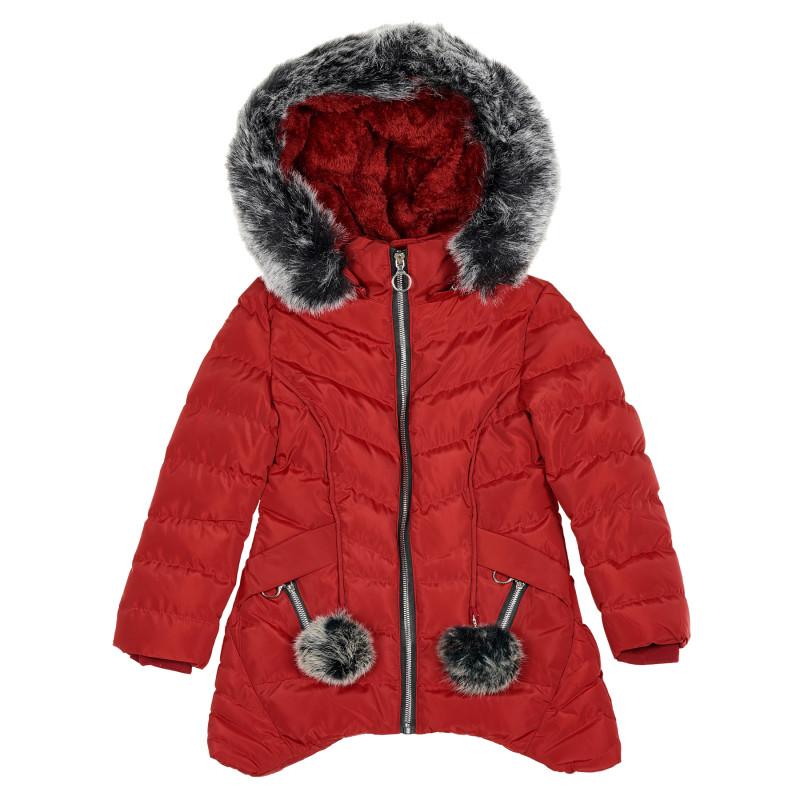 Зимно яке с пух на качулката и джобовете за момиче, червено  188178