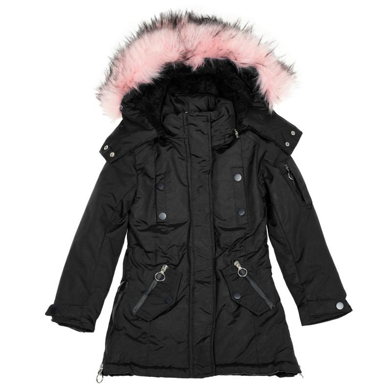 Дълго зимно яке с пухена качулка за момиче, черно  188190