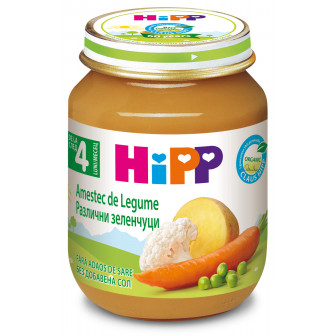 Био пюре от различни зеленчуци, 3-5 месеца, бурканче 125 гр. Hipp 19557