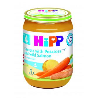 Пюре от сьомга с ранни моркови и картофи, 3-5 месеца, бурканче 190 гр. Hipp 19565