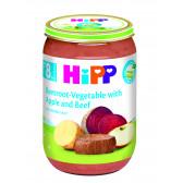 Био пюре от телешко с цвекло, зеленчуци и ябълка, 9+ месеца, бурканче 220 гр. Hipp 19576