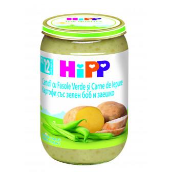 Пюре от картофи със зелен боб и заешко, 1+ години, бурканче 220 гр. Hipp 19583