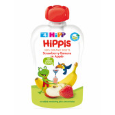 Био закуска ябълка, ягода и банан, 3-5 месеца, пауч 100 гр. Hipp 19601