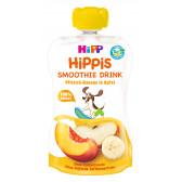 Био смути напитка праскова, банан и ябълка, 1+ години, пауч 120 мл. Hipp 19610