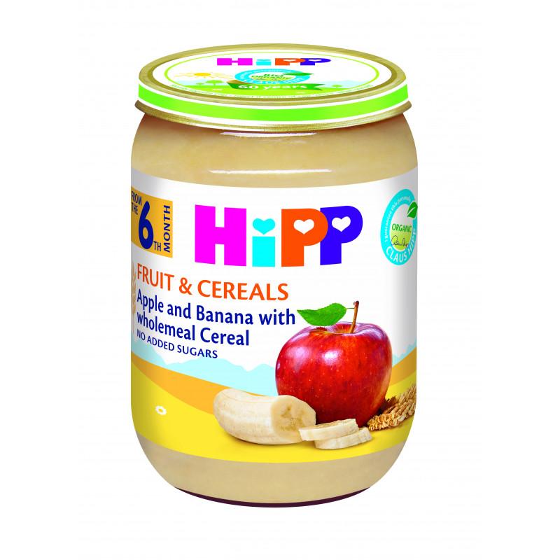 Био ябълки и банани с пълнозърнести култури, 6+ месеца, бурканче 190 гр.  19615