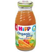 Био сок от ябълки и моркови, 3-5 месеца, стъклена бутилка 200 мл. Hipp 19637