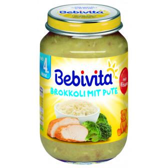 Пюре от броколи и пуешко месо, 3-5 месеца, бурканче 190 гр. Bebivita 19644