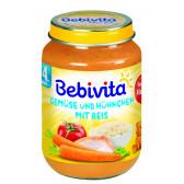 Пюре от ориз и зеленчуци с пилешко месо, 3-5 месеца, бурканче 190 гр. Bebivita 19645